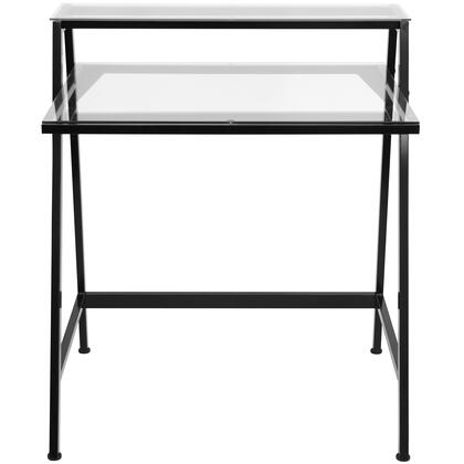 """LumiSource 2-Tier OFD-TM2TIER 23"""" Desk with Hutch, Tempered Glass Top and Compact Design in"""
