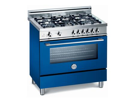 Bertazzoni X365GGVBL Professional Series Dual Fuel Freestanding Range with Sealed Burner Cooktop, 3.6 cu. ft. Primary Oven Capacity, Storage in Blue