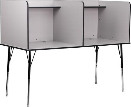Flash Furniture MT-M6222-XX-DBL-GG Double Wide Study Carrel with Adjustable Legs, Top Shelf, and Black Grommet for Wire Management