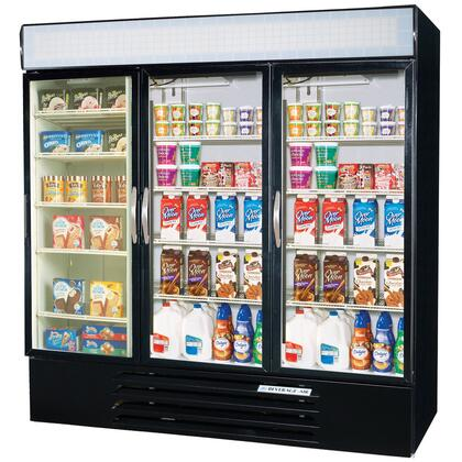 Beverage-Air MMRF72-5 MarketMax Three Section Glass Door Reach-In Dual Merchandising (2)Refrigerator/(1)Freezer with LED Lighting, 72 cu.ft. Capacity, [Color] Exterior and Bottom Mounted Compressor