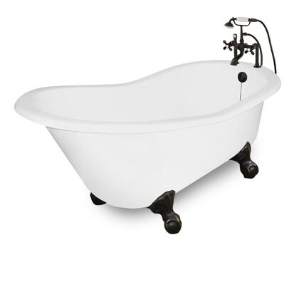 American Bath Factory T130B- Wintess Bathtub With 90 Series Faucet, Hand Shower & Metal Cross Handles, Waste & Overflow Included: