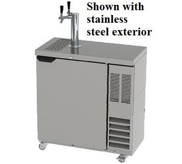 "Beverage-Air DD36SLM-1 36"" One Section Direct Draw Beer Dispenser, Slim 2 Keg Kegerator with Swing Solid Door, 6.3 cu.ft. Capacity, [Black] Exterior and Side Mounted Compressor"