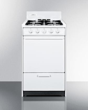 "Summit WNM1107 20""  White Gas Freestanding Range with Open Burner Cooktop, 2.46 cu. ft. Primary Oven Capacity, Broiler"