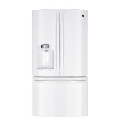 GE GFE27GGDWW  French Door Refrigerator with 26.7 cu. ft. Total Capacity 5 Glass Shelves