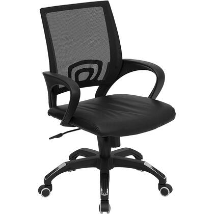 "Flash Furniture CP-B176A01-XX-GG 17.5"" Mid-Back Mesh Computer Chair with Black Leather Seat, Thick Foam Padding Over Plywood Seat, Spring Tilt Control Mechanism, and Pneumatic Seat Height Adjustment"