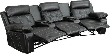 Flash Furniture BT705303CVGG Real Comfort Series 3-Seat Reclining Leather Theater Seating Unit with Curved Cup Holders