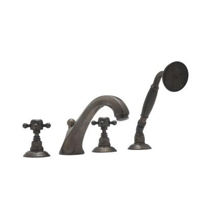 Rohl A1804XM Country Bath Collection 4-Hole Deck Mount Hex Spout Tub Filler with Handshower, Cross Handles: