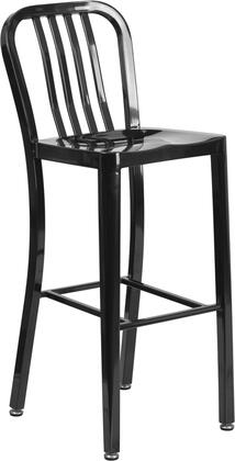"""Flash Furniture CH-61200-30 30"""" High Metal Indoor-Outdoor Barstool with Vertical Slat Back, Galvanized Steel Construction and Adjustable Floor Glides in"""