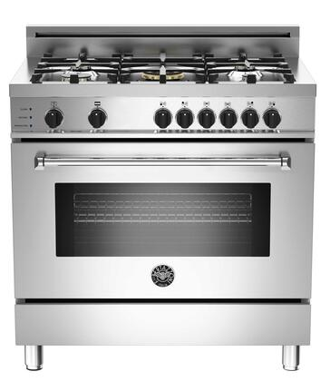 "Bertazzoni Master MAS365DFSXF 36"" Dual-Fuel Self-Clean Range with 5 Brass Burners, 4.0 cu.ft. Electric Self-Clean Convection Oven, 9 Cooking Functions, Telescopic Glide Shelf, in Stainless Steel"
