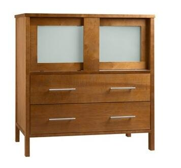 """Ronbow 035831- Minerva 31"""" Wood Vanity Cabinet with Two Frosted Glass Sliding Doors and Two Bottom Drawers"""