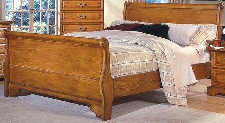 New Classic Home Furnishings 1133-SB Honey Creek Sleigh Bed with Block Feet, Detailed Molding, and Transitional Design, in Caramel