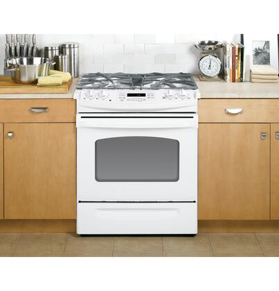 GE JGSP42DETWW  Slide-in Gas Range with Sealed Burner Cooktop Storage 4.1 cu. ft. Primary Oven Capacity
