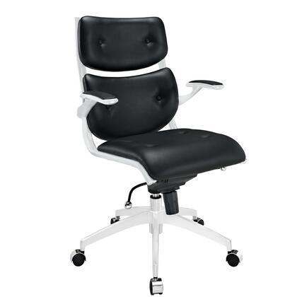 Modway EEI-1062 Push Midback Office Chair with Five Dual-casters, Tension Knob, Pneumatic Height Adjustment, Chrome Metal Frame, 360 Swivel, Waterfall Seat and Buttoned Leatherette Padding