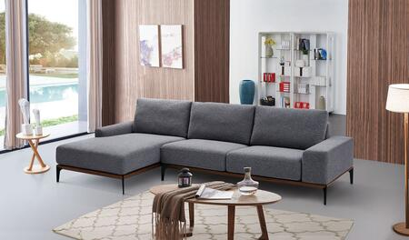"ESF I1766X 118-64"" 709 Sectional in Dark Grey"