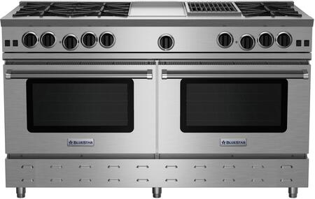 """BlueStar RNB606GCBV RNB Series 60"""" Freestanding Gas Range with 6 Cast Iron Open Burners, 4.5 Cu. Ft. Convection Oven, 12"""" Griddle/ Charbroiler, Simmer Burner, Full Motion Grates and Stainless Steel Drip Trays"""