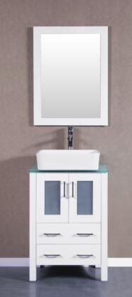 Bosconi Bosconi Single Vanity with Soft Closing Doors , Drawers,Top,  Sink, Faucet and  Mirror in White