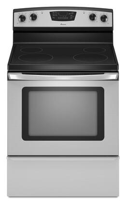 "Amana AER5830VAS 30"" Electric Freestanding Range with Smoothtop Cooktop, 4.8 cu. ft. Primary Oven Capacity, Storage in Stainless Steel"