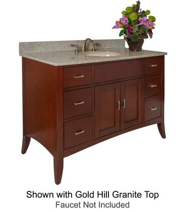 """Kaco Metro Collection 385-4800 48"""" Sink Vanity with Flared Legs, 2 Doors, 6 Drawers, Brushed Nickel Hardware and Water Resistant Brown Cherry Finish with Granite Top"""