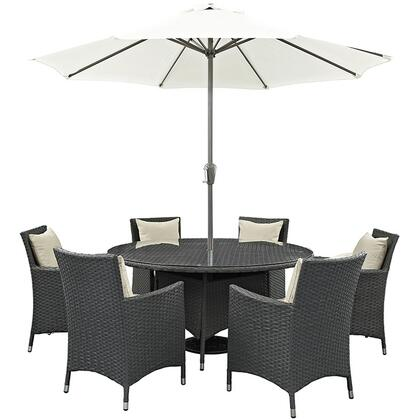 "Modway Sojourn Collection EEI-2270-CHC-XXX-SET 8-Piece Outdoor Patio Sunbrella Dining Set with 59"" Round Dining Table, Umbrella with Metal Pole and 6x Dining Arm Chairs with Cushions in"