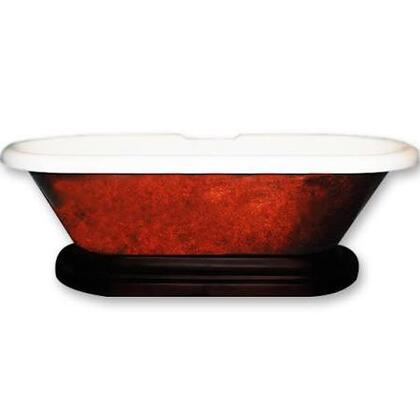 "Cambridge ADEPCPRBRNZORB Acrylic Double Ended Pedestal Bathtub 70"" x 30"" Faux Copper Bronze Finish on Exterior with Oil Rubbed Bronze Pedestal"