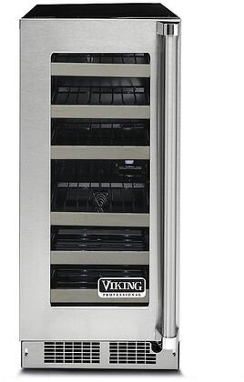 "Viking VWUI5150G 15"" Professional 5 Series Single Zone Under Counter Wine Cooler with 24 Bottle Capacity, Double Pane Glass Door, UV Protection, Dynamic Cooling System, Sabbath Mode, Electronic Digital Controls, and Theater LED Lighting: Stainless Steel"