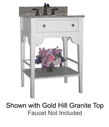"Kaco Dover Collection 340-3000-W 30"" Single Sink Vanity with Bottom Shelf, Faux Drawer Front and Cottage White Sherwin Williams Finish with Granite Top"