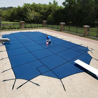 Artic Armor WSXXXBU Blue 12-Year Mesh Safety Cover For 00' x 00' Rectangular Pool in Blue