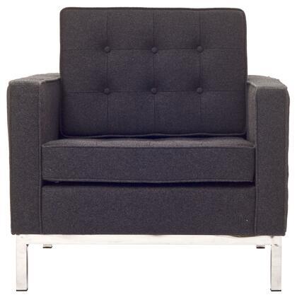 Modway EEI184DGR Loft Series Fabric Armchair with Metal Frame in Dark Grey