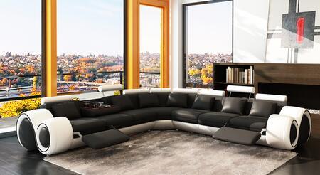 VIG Furniture VGEV4087BLKWHTHL Divani Casa Series Stationary Leather Sofa