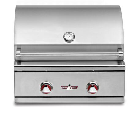 """Delta Heat DHBQ26GX 26"""" Wide Stainless Steel Built-In X Grill with 420 sq. in. Cooking Area, 2 Main Burners (20,000 Btu's Each), Interior Halogen Light, and Direct Heat & Ceramic Radiant Grilling System"""