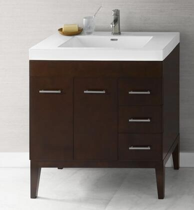 """Ronbow 0370317L Venus 31"""" Wood Vanity Cabinet with Two Doors, One Hidden Drawer, Three Side Drawers and Wood Legs:"""