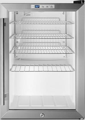 "Summit SCR312LT 17"" Commercially Approved Beverage Center with 2.5 cu. ft. Capacity, Factory Installed Lock, Automatic Defrost and  Double Pane Tempered Glass Door, in Stainless Steel"
