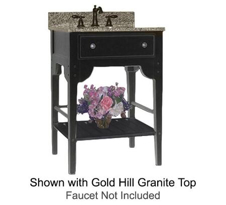 """Kaco Dover Collection 340-2400-B 24"""" Single Sink Vanity with Bottom Shelf, Faux Drawer Front and Distressed Black Sherwin Williams Finish with X Top"""