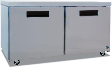 "Hoshizaki CRMF60xx 60"" Commercial Undercounter Freezer with 17.55 cu. ft. Capacity, Stainless Steel Exterior, 2 Epoxy Coated Shelves, Stepped Door Design, and Field Reversible Doors, in Stainless Steel"