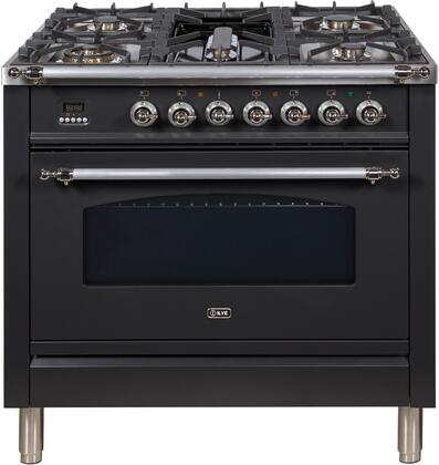 """Ilve UPN90FDVGGMX 36"""" Nostalgie Series Gas Freestanding Range with Sealed Burner Cooktop, 3.5 cu. ft. Primary Oven Capacity, Warming in Matte Graphite"""