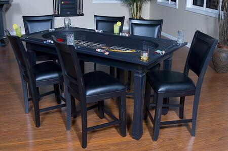American Heritage Burlington Series 100717XX 3-in-1 Game Table Set with 6 Leatherette Chairs, Craps Table, Drink Holder, Poker Chip Holder, and Flip Top Converts into Dining Table