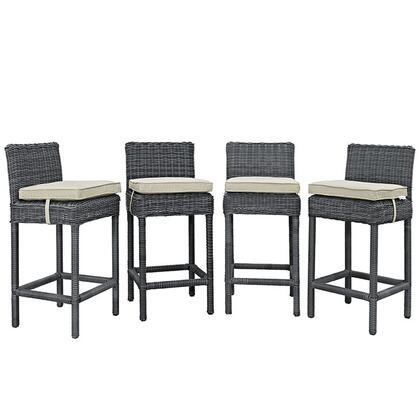 "Modway Summon Collection Set of 4 40"" Outdoor Patio Bar Stool with Sunbrella  Fabric, Synthetic Rattan Weave, Powder Coated Aluminum Frame, Water and UV Resistant in"