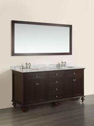 "Bosconi SB261X 73"" Double Vanity in Dark Espresso"