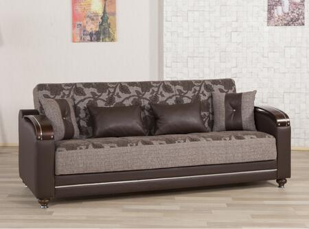 """Casamode DISB 87"""" Sofabed with Pillows, Storage Under the Seats, Bun Feet, Curved Arms and Woodlike/Polished Metal Accents:"""