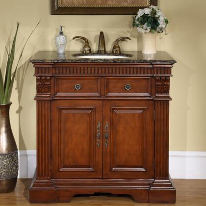 "Silkroad Exclusive LTP-0182-UIC-36 36"" Lavinia Single Sink Cabinet - Undermount Ivory Ceramic Sinks (3-hole)"