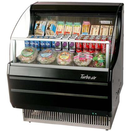 Turbo Air TOMA Open Display Merchandiser with Environmental Friendly Refrigeration System, Anti-Rust Coating and High Density PU Insulation: Black Ext. and Int.