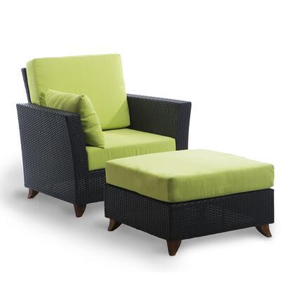 All Things Cedar PR2530 2-Piece Patio Set with Rattan Deep Arm Chair and Ottoman