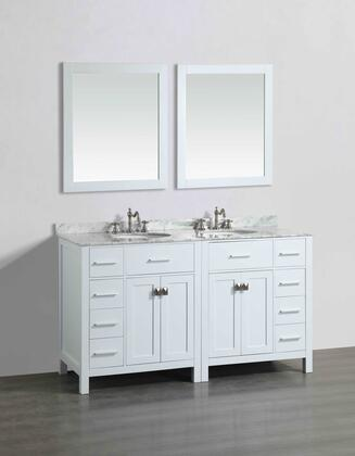 Bosconi SB2LR2104WHX Double Vanity in White with White Carrara Marble Top