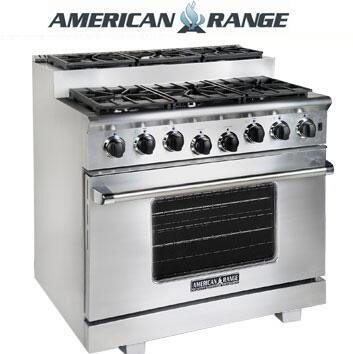 American Range ARR366SISS Titan Series Gas Freestanding Range with Sealed Burner Cooktop, 5.6 cu. ft. Primary Oven Capacity, in Stainless Steel