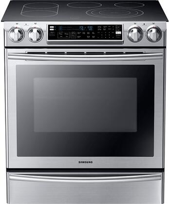 """Samsung NE58F9710WS 30"""" Slide-in Electric Range with Smoothtop Cooktop, 5.8 cu. ft. Primary Oven Capacity, Warming in Stainless Steel"""