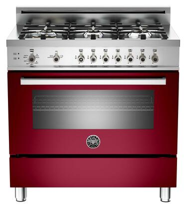 "Bertazzoni PRO366GASVI 36"" Professional Series Gas Freestanding Range with Sealed Burner Cooktop, 4.4 cu. ft. Primary Oven Capacity, Storage in Burgundy"