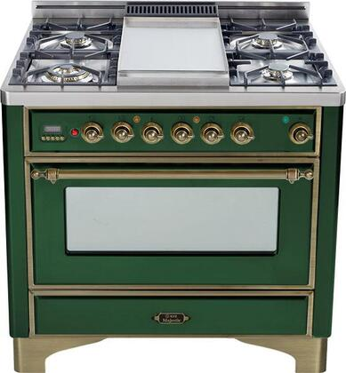 Ilve UM906VGGVSY Majestic Series Gas Freestanding Range with Sealed Burner Cooktop, 3.55 cu. ft. Primary Oven Capacity, Warming in Emerald Green