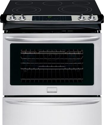 """Frigidaire FGES3065PF 30"""" Gallery Series Slide-in Electric Range with Smoothtop Cooktop, 4.6 cu. ft. Primary Oven Capacity, Storage in Stainless Steel"""