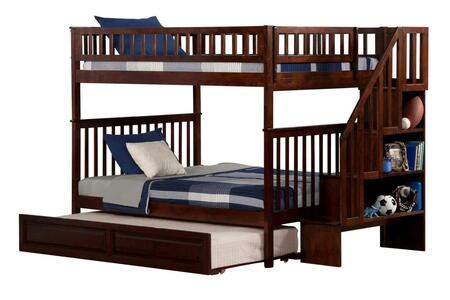 Atlantic Furniture AB5683 Woodland Staircase Bunk Bed Full Over Full With Raised Panel Trundle Bed