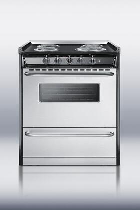 """Summit TEM210BRWY 30"""" Professional Series Slide-in Electric Range with Coil Cooktop Storage 3.7 cu. ft. Primary Oven Capacity"""
